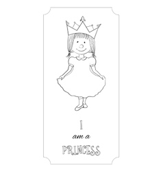 Kid cartoon princess outline card for coloring vector image