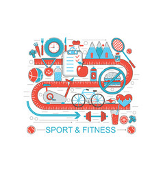 modern flat thin line design healthy fitness and vector image vector image