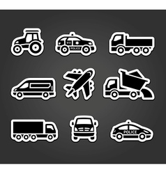 Set of sticky stickers transport icons vector