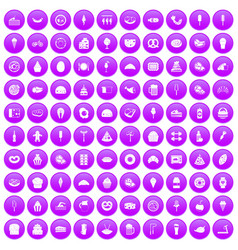 100 calories icons set purple vector