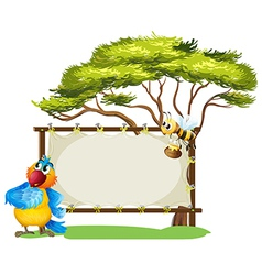 A parrot and a bee near an empty signage vector image vector image