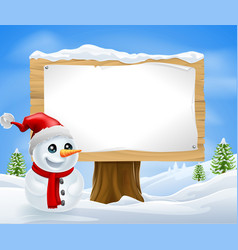 cute christmas snowman and sign vector image vector image