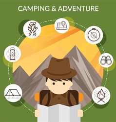 Explorer with Camping Icons and Mountain Backgroun vector image vector image
