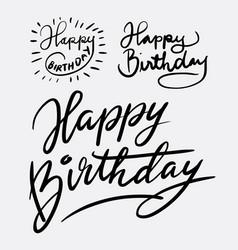 happy birthday hand written typography vector image vector image