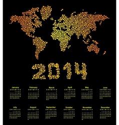 2014 calendar world map vector image