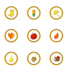 autumn symbol icons set cartoon style vector image