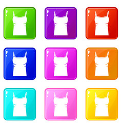 Blank women tank top icons 9 set vector