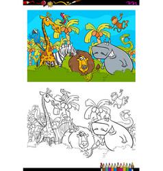 cartoon safari animal characters coloring book vector image vector image