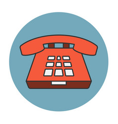 deskphone flat line icon vector image vector image