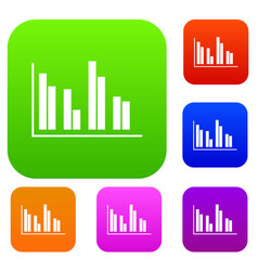 financial analysis chart set collection vector image vector image