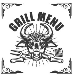 grill menu bull head on white background vector image