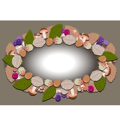 Oval frame of autumn forest vector image