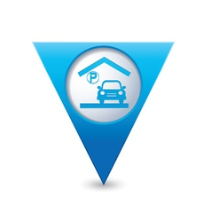 Parking under roof icon map pointer blue vector