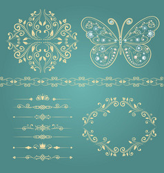 set of floral border frame dividers vector image