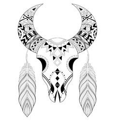 Zentangle stylized Animal Skull with boho feathers vector image