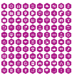 100 interface icons hexagon violet vector