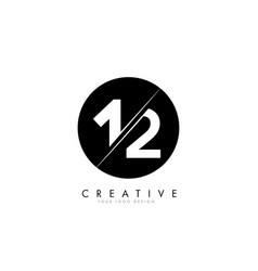 12 1 2 number logo design with a creative cut vector image