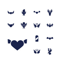 13 angel icons vector