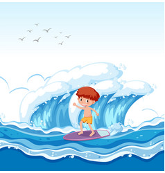 a boy surfing big wave vector image