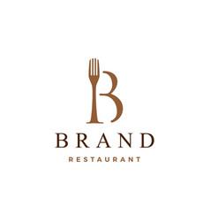 B letter mark fork food restaurant logo icon vector