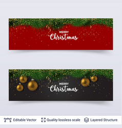 Banners with fir tree border and toy balls vector
