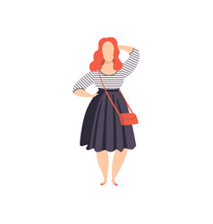 Beautiful red haired curvy overweigh girl in vector