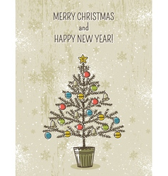 Beige background with christmas tree vector