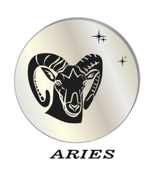 Black silhouette of aries are on pearl background vector
