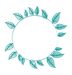 Blue silhouette image decorative crown of leaves vector