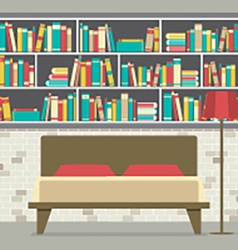 Bookcase In The Bedroom Flat Design vector image