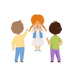 Boys mocking and pointing at a crying girl bad vector