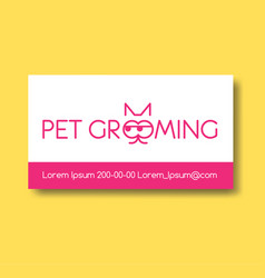 Business card design template with cat silhouette vector