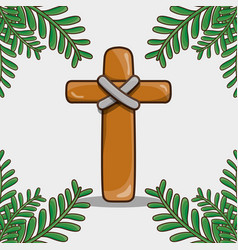 Catholic cross with palm branches traditional vector