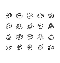 cheese line icons sour dairy products mozzarella vector image