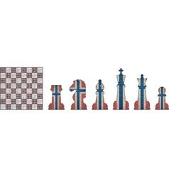 Chess pieces with Norway flag vector