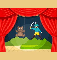 childrens puppet theater with puppets puppets vector image