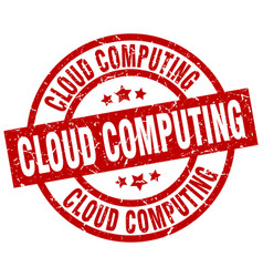 Cloud computing round red grunge stamp vector