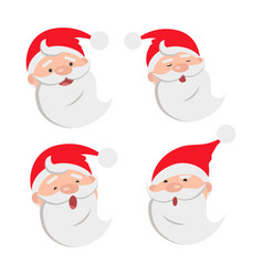 collection of four santa claus face expressions vector image