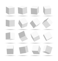 cube icon set with perspective 3d model of a cube vector image