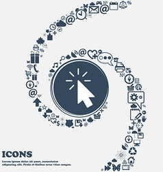 Cursor icon in the center Around the many vector image