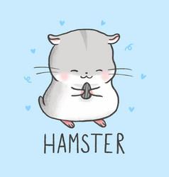 Cute hamster cartoon hand drawn style vector