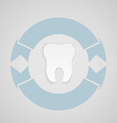 Dental emblem with blue circle vector