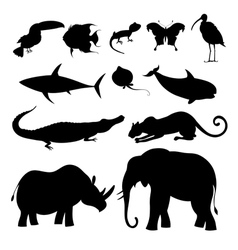 different silhouettes of animals vector image