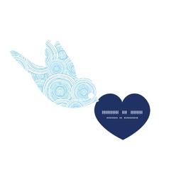 Doodle circle water texture birds holding heart vector
