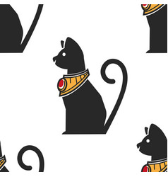 egyptian cat in gold collar with ruseamless vector image