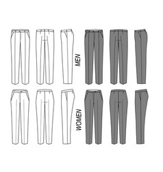 elegant classic trousers pants for women and men vector image