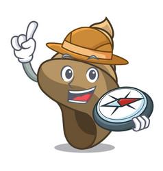 Explorer spiral shell mascot cartoon vector