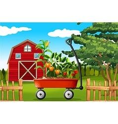 Farm scene with vegetables on wagon vector