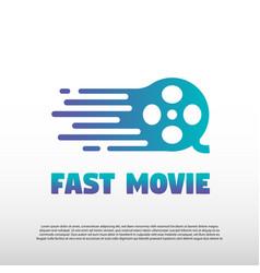 Fast movie logo design vector