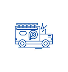 fire engine line icon concept fire engine flat vector image